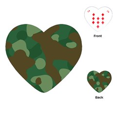 Initial Camouflage Como Green Brown Playing Cards (heart)  by Mariart