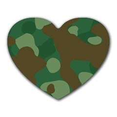 Initial Camouflage Como Green Brown Heart Mousepads by Mariart