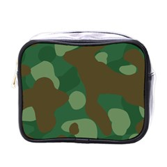 Initial Camouflage Como Green Brown Mini Toiletries Bags by Mariart