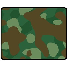Initial Camouflage Como Green Brown Fleece Blanket (medium)  by Mariart