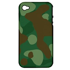 Initial Camouflage Como Green Brown Apple Iphone 4/4s Hardshell Case (pc+silicone) by Mariart