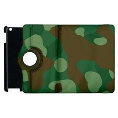 Initial Camouflage Como Green Brown Apple Ipad 2 Flip 360 Case by Mariart