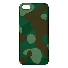 Initial Camouflage Como Green Brown Apple Iphone 5 Premium Hardshell Case by Mariart
