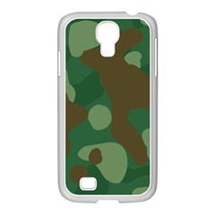 Initial Camouflage Como Green Brown Samsung Galaxy S4 I9500/ I9505 Case (white) by Mariart