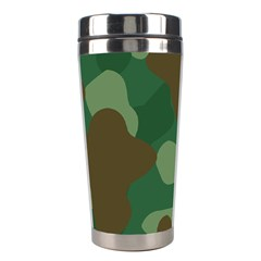Initial Camouflage Como Green Brown Stainless Steel Travel Tumblers by Mariart