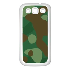 Initial Camouflage Como Green Brown Samsung Galaxy S3 Back Case (white) by Mariart