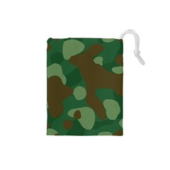 Initial Camouflage Como Green Brown Drawstring Pouches (small)  by Mariart
