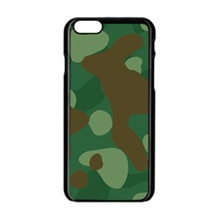 Initial Camouflage Como Green Brown Apple Iphone 6/6s Black Enamel Case by Mariart