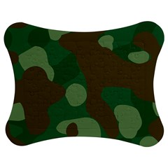 Initial Camouflage Como Green Brown Jigsaw Puzzle Photo Stand (bow)