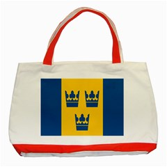 King Queen Crown Blue Yellow Classic Tote Bag (red) by Mariart