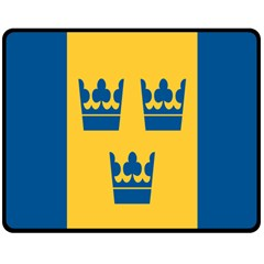 King Queen Crown Blue Yellow Double Sided Fleece Blanket (medium)  by Mariart
