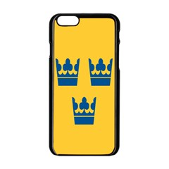 King Queen Crown Blue Yellow Apple Iphone 6/6s Black Enamel Case by Mariart