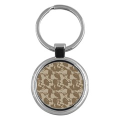 Initial Camouflage Brown Key Chains (round)