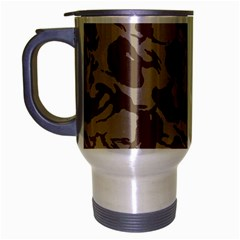 Initial Camouflage Brown Travel Mug (silver Gray) by Mariart