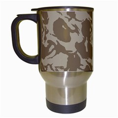 Initial Camouflage Brown Travel Mugs (white) by Mariart