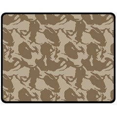 Initial Camouflage Brown Fleece Blanket (medium)  by Mariart