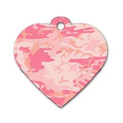 Initial Camouflage Camo Pink Dog Tag Heart (two Sides) by Mariart