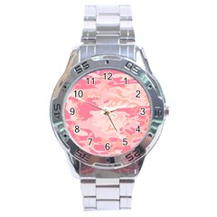 Initial Camouflage Camo Pink Stainless Steel Analogue Watch by Mariart
