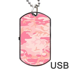 Initial Camouflage Camo Pink Dog Tag Usb Flash (two Sides) by Mariart