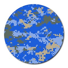 Oceanic Camouflage Blue Grey Map Round Mousepads by Mariart