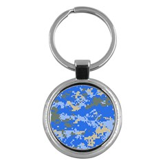 Oceanic Camouflage Blue Grey Map Key Chains (round)  by Mariart