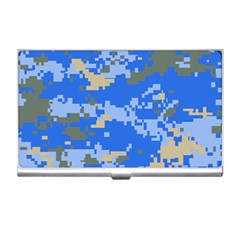 Oceanic Camouflage Blue Grey Map Business Card Holders by Mariart