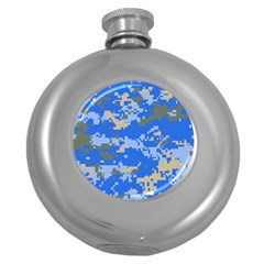 Oceanic Camouflage Blue Grey Map Round Hip Flask (5 Oz) by Mariart