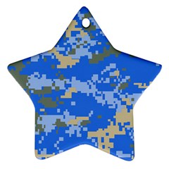 Oceanic Camouflage Blue Grey Map Star Ornament (two Sides) by Mariart