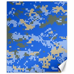 Oceanic Camouflage Blue Grey Map Canvas 20  X 24