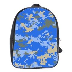 Oceanic Camouflage Blue Grey Map School Bags(large)