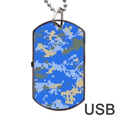 Oceanic Camouflage Blue Grey Map Dog Tag Usb Flash (one Side) by Mariart