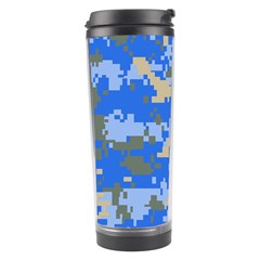 Oceanic Camouflage Blue Grey Map Travel Tumbler by Mariart