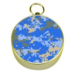 Oceanic Camouflage Blue Grey Map Gold Compasses Front