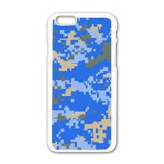 Oceanic Camouflage Blue Grey Map Apple Iphone 6/6s White Enamel Case by Mariart