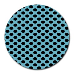 Polka Dot Blue Black Round Mousepads by Mariart