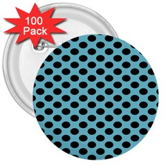 Polka Dot Blue Black 3  Buttons (100 Pack)  by Mariart