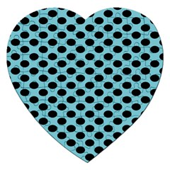 Polka Dot Blue Black Jigsaw Puzzle (heart) by Mariart