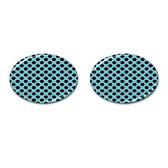 Polka Dot Blue Black Cufflinks (oval) by Mariart