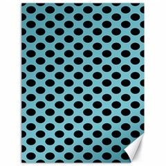 Polka Dot Blue Black Canvas 18  X 24   by Mariart