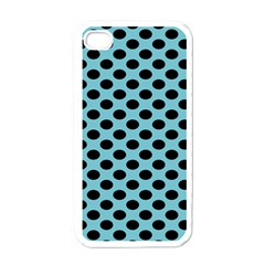 Polka Dot Blue Black Apple Iphone 4 Case (white) by Mariart