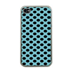 Polka Dot Blue Black Apple Iphone 4 Case (clear) by Mariart