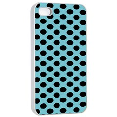 Polka Dot Blue Black Apple Iphone 4/4s Seamless Case (white) by Mariart