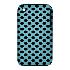 Polka Dot Blue Black Iphone 3s/3gs by Mariart