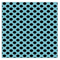 Polka Dot Blue Black Large Satin Scarf (square) by Mariart