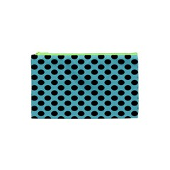 Polka Dot Blue Black Cosmetic Bag (xs) by Mariart