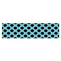 Polka Dot Blue Black Satin Scarf (oblong) by Mariart