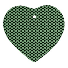 Polka Dot Green Black Ornament (heart) by Mariart