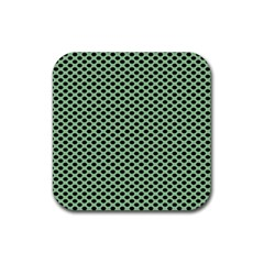 Polka Dot Green Black Rubber Coaster (square)  by Mariart