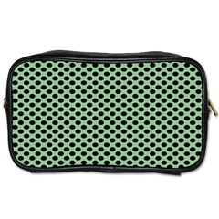 Polka Dot Green Black Toiletries Bags 2 Side by Mariart