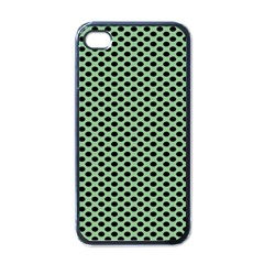 Polka Dot Green Black Apple Iphone 4 Case (black) by Mariart